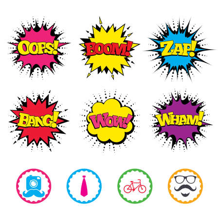 Comic Wow, Oops, Boom and Wham sound effects. Hipster photo camera. Mustache with beard icon. Glasses and tie symbols. Bicycle family vehicle sign. Zap speech bubbles in pop art. Vector Illustration