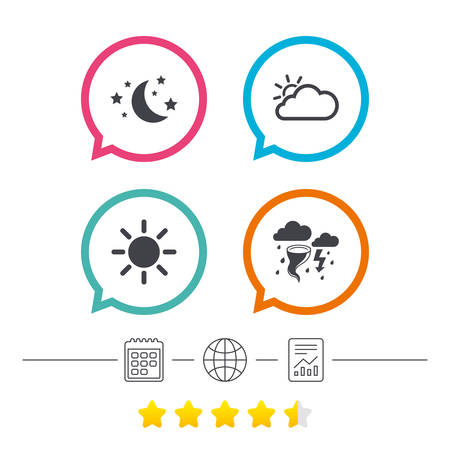Weather icons. Moon and stars night. Cloud and sun signs. Storm or thunderstorm with lightning symbol. Calendar, internet globe and report linear icons. Star vote ranking. Vector