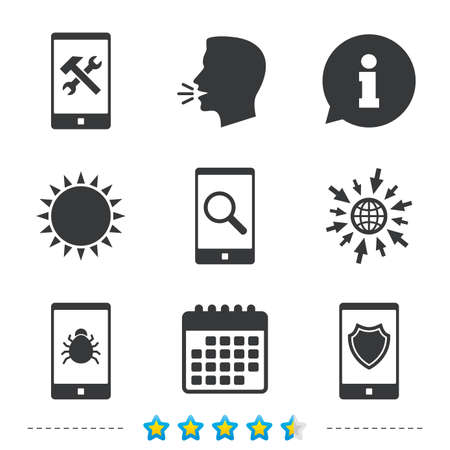anti noise: Smartphone icons. Shield protection, repair, software bug signs. Search in phone. Hammer with wrench service symbol. Information, go to web and calendar icons. Sun and loud speak symbol. Vector Illustration