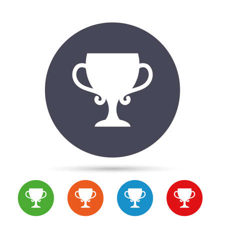 Winner cup sign icon. Awarding of winners symbol. Trophy. Round colourful buttons with flat icons. Vector