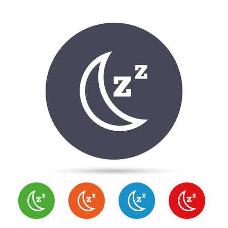 Sleep sign icon. Moon with zzz button. Standby. Round colourful buttons with flat icons. Vector