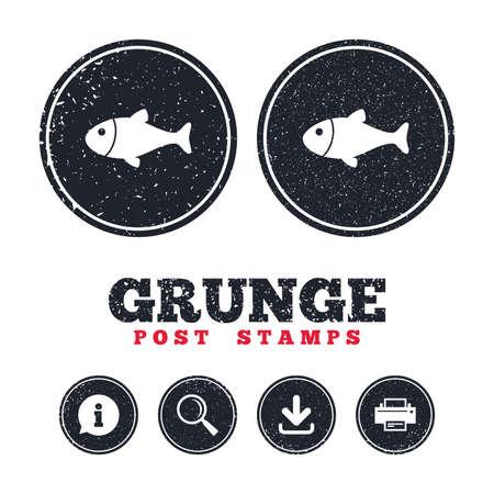 Sellos postales de grunge Icono de signo de pescado. Símbolo de pesca Información, descarga y letreros de la impresora. Botones de textura de web envejecido. Vector Foto de archivo - 80344835