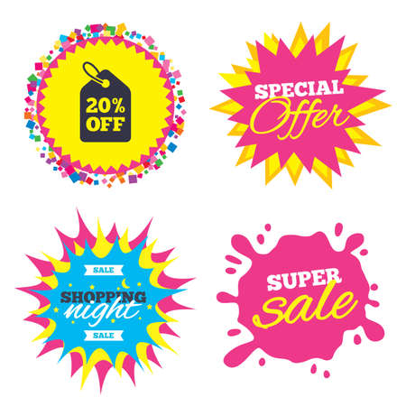 Sale splash banner, special offer star. 20% sale price tag sign icon. Discount symbol. Special offer label. Shopping night star label. Vector Ilustração