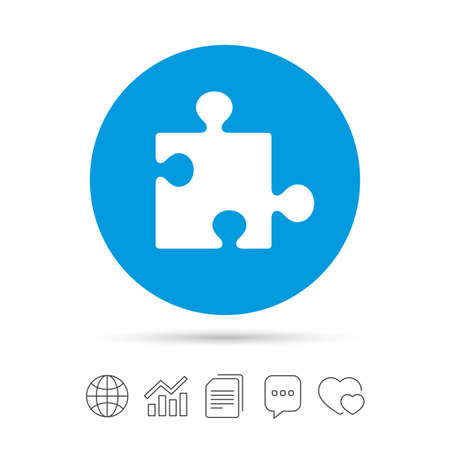 Puzzle piece sign icon. Strategy symbol. Copy files, chat speech bubble and chart web icons. Vector Illustration