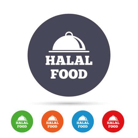 할랄 음식 제품 기호 아이콘입니다. 천연 이슬람 식품 기호입니다. 플랫 아이콘으로 다채로운 단추 라운드. 벡터 일러스트