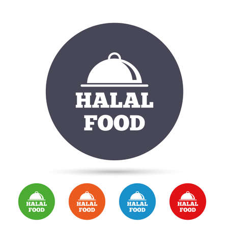 Icône de signe de produit alimentaire halal. Symbole de la nourriture des musulmans naturels. Boutons colorés ronds avec des icônes plats. Vecteur Banque d'images - 80343033