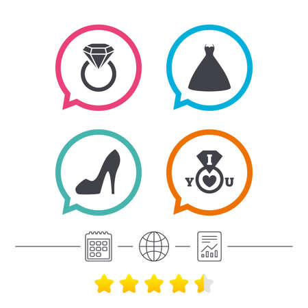 Wedding dress icon. Womens shoe symbol. Wedding or engagement day ring with diamond sign. Calendar, internet globe and report linear icons. Star vote ranking. Vector