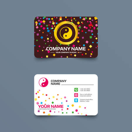 Business card template with confetti pieces. Ying yang sign icon. Harmony and balance symbol. Phone, web and location icons. Visiting card  Vector Illustration