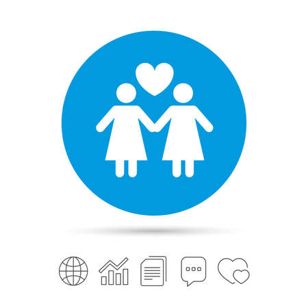 Couple sign icon. Woman love woman. Lesbians with heart. Copy files, chat speech bubble and chart web icons. Vector