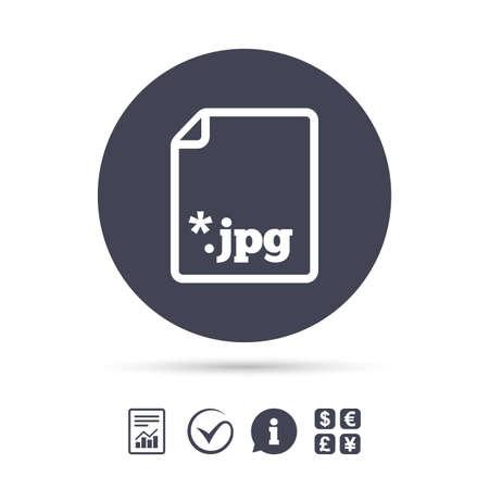 Icône de fichier JPG. Télécharger le symbole du fichier image. Signaler le document, l'information et cocher les icônes. Échange de devises. Vecteur Banque d'images - 80343046