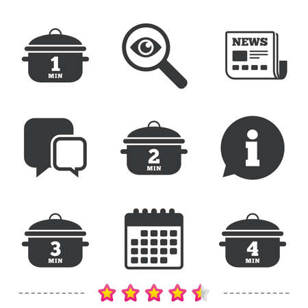 Cooking pan icons. Boil 1, 2, 3 and 4 minutes signs. Stew food symbol. Newspaper, information and calendar icons. Investigate magnifier, chat symbol. Vector
