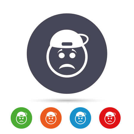 Sad rapper face sign icon. Sadness depression chat symbol. Round colourful buttons with flat icons. Vector Illusztráció