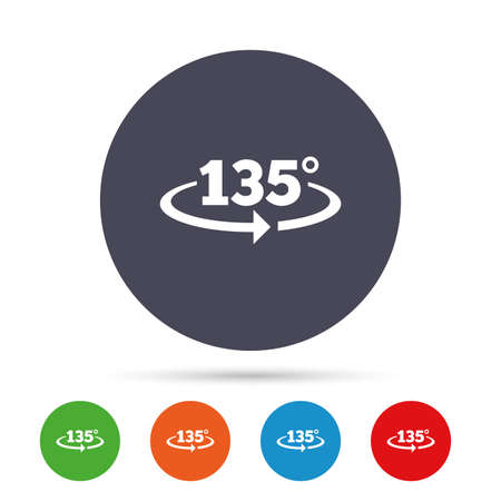Angle 135 degrees sign icon. Geometry math symbol. Round colourful buttons with flat icons. Vector