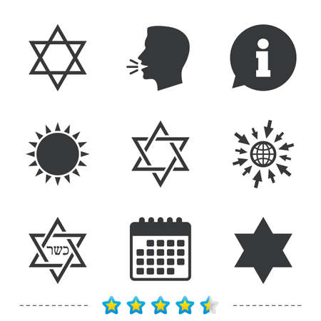 Star of David sign icons. Symbol of Israel. Information, go to web and calendar icons. Sun and loud speak symbol. Vector