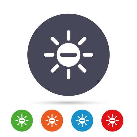 Sun 마이너스 기호 아이콘입니다. 열 기호입니다. 밝기 버튼. 플랫 아이콘 라운드 다채로운 단추입니다. 벡터