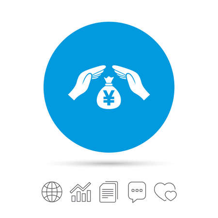 Protection money bag sign icon. Hands protect cash in Yen symbol. Money or savings insurance. Copy files, chat speech bubble and chart web icons. Vector 向量圖像