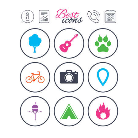 Information, report and calendar signs. Tourism, camping icons. Fishing, fire and bike signs. Guitar music, photo camera and paw with clutches. Phone call symbol. Classic simple flat web icons. Vector