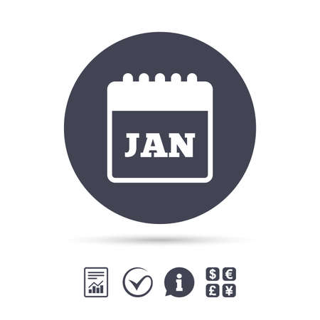 Calendar sign icon. January month symbol. Report document, information and check tick icons. Currency exchange. Vector
