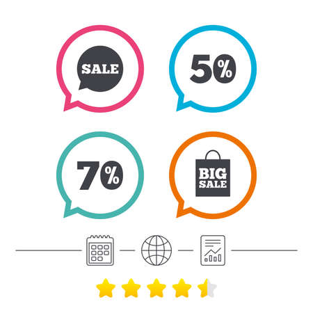 Sale speech bubble icon. 50% and 70% percent discount symbols. Big sale shopping bag sign. Calendar, internet globe and report linear icons. Star vote ranking. Vector