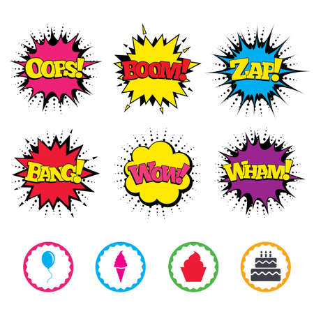 fire and ice: Comic Wow, Oops, Boom and Wham sound effects. Birthday party icons. Cake with ice cream signs. Air balloon with rope symbol. Zap speech bubbles in pop art. Vector Illustration