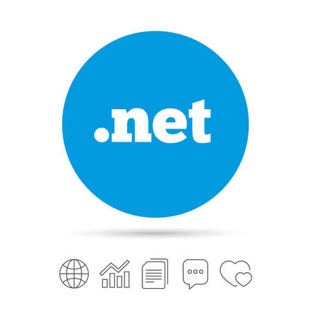Domain NET sign icon. Top-level internet domain symbol. Copy files, chat speech bubble and chart web icons. Vector Ilustração