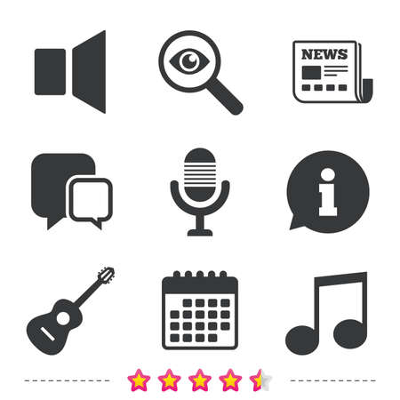 Musical elements icons. Microphone and Sound speaker symbols. Music note and acoustic guitar signs. Newspaper, information and calendar icons. Investigate magnifier, chat symbol. Vector