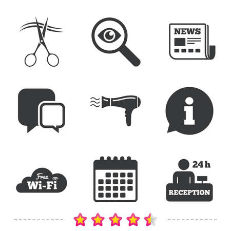 investigating: Hotel services icons. Wi-fi, Hairdryer in room signs. Wireless Network. Hairdresser or barbershop symbol. Reception registration table. Newspaper, information and calendar icons. Vector