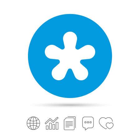Asterisk ronde voetnoot teken icoon. Ster-noot symbool voor meer informatie. Kopieer bestanden, chat speech bubble en grafiek web iconen. Vector