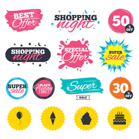 Sale shopping banners. Special offer splash. Birthday party icons. Cake with ice cream signs. Air balloon with rope symbol. Web badges and stickers. Best offer. Vector Illustration
