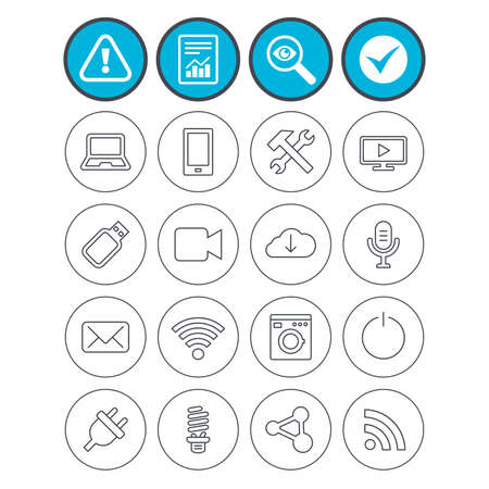 Report, check tick and attention signs. Devices and technologies icons. Notebook, smartphone and wi-fi symbols. Usb flash, video camera, microphone thin outline signs. Vector