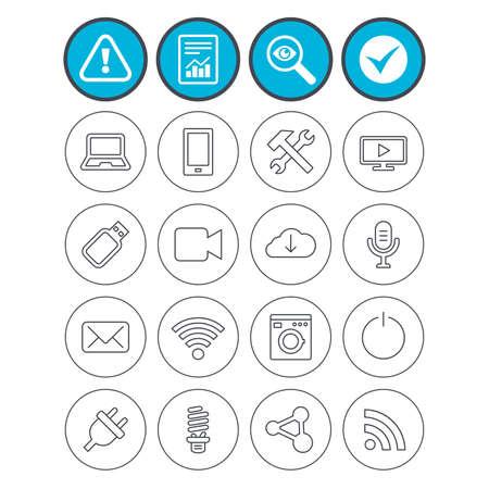 Relatório, verifique sinais de carrapato e atenção. Ícones de dispositivos e tecnologias. Símbolos de notebook, smartphone e wi-fi. Usb flash, câmera de vídeo, sinais de contorno fino do microfone. Vetor Foto de archivo - 80345643