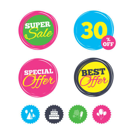 Super sale and best offer stickers. Birthday party icons. Cake, balloon, hat and muffin signs. Fireworks with rocket symbol. Double decker with candle. Shopping labels. Vector Illustration