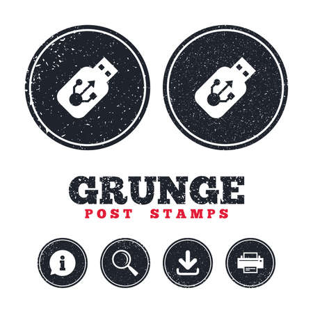 Grunge post stamps. Usb sign icon. Usb flash drive stick symbol. Information, download and printer signs. Aged texture web buttons. Vector