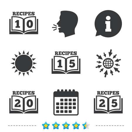 Kookboekpictogrammen. 10, 15, 20 en 25 recepten boekenbordsymbolen. Informatie, ga naar web- en kalenderpictogrammen. Zon en luid spreken symbool. Vector