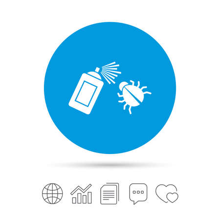 Bug disinfection sign icon. Fumigation symbol. Bug sprayer. Copy files, chat speech bubble and chart web icons. Vector Illustration