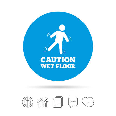 Caution wet floor sign icon. Human falling symbol. Copy files, chat speech bubble and chart web icons. Vector Çizim