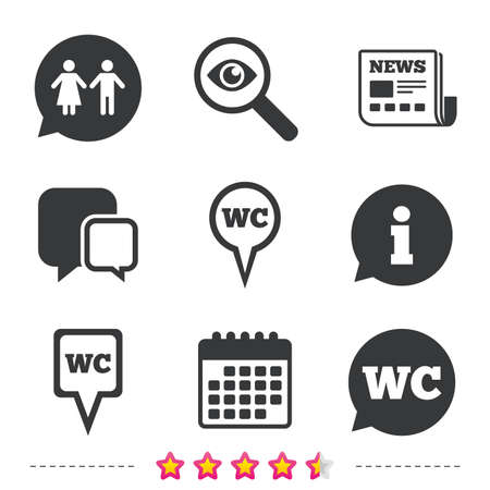 WC Toilet pointer icons. Gents and ladies room signs. Man and woman speech bubble symbols. Newspaper, information and calendar icons. Investigate magnifier, chat symbol. Vector Illustration