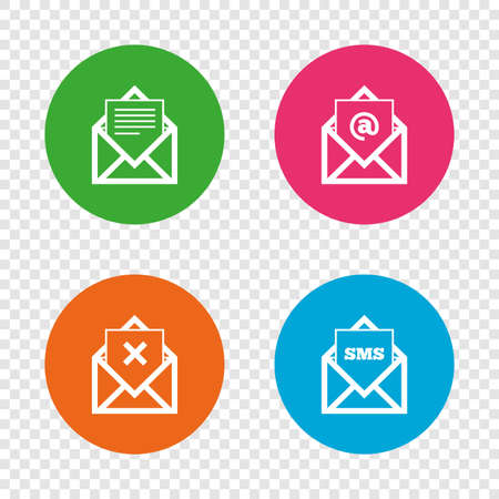 Mail envelope icons. Message document symbols. Post office letter signs. Delete mail and SMS message. Round buttons on transparent background. Vector Ilustrace