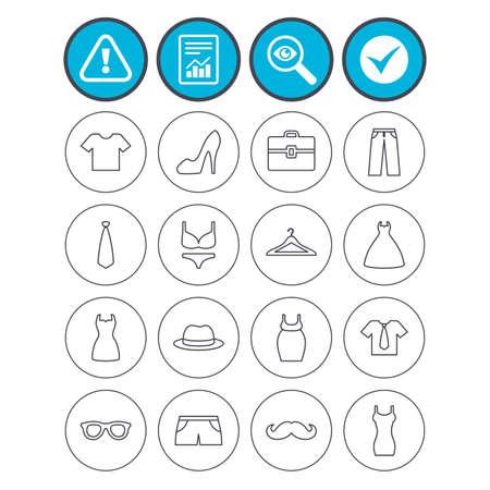 Bericht, check Tick und Aufmerksamkeit Zeichen. Kleider und Zubehör Symbole. Shirt mit Krawatte, Hosen und Frau Kleid Symbole. Hut, Kleiderbügel und Gläser dünne Umrisse Zeichen. Unterwäsche und Mutterschaft Kleidung Standard-Bild - 80344900