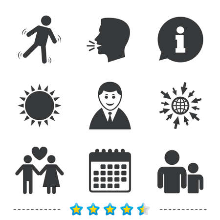Businessman person icon. Group of people symbol. Man love Woman or Lovers sign. Caution slippery. Information, go to web and calendar icons. Sun and loud speak symbol. Vector Illustration
