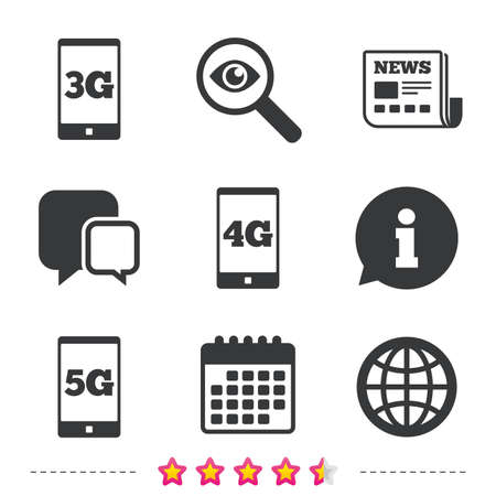 Mobile telecommunications icons. 3G, 4G and 5G technology symbols. World globe sign. Newspaper, information and calendar icons. Investigate magnifier, chat symbol. Vector