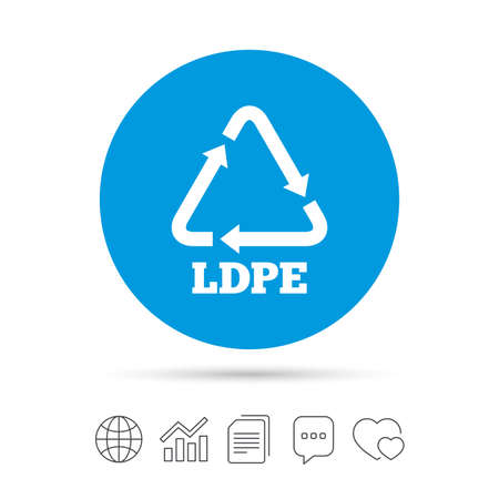 Ld-pe icon. Low-density polyethylene sign. Recycling symbol. Copy files, chat speech bubble and chart web icons. Vector