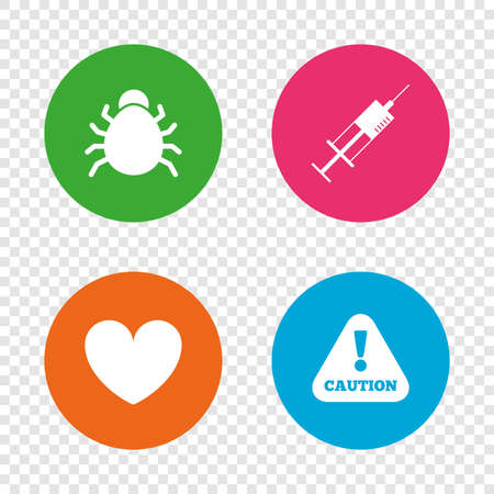 Bug and vaccine syringe injection icons. Heart and caution with exclamation sign symbols. Round buttons on transparent background. Vector