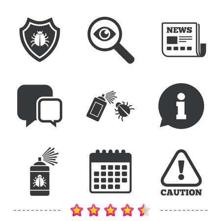 Bug disinfection icons. Caution attention and shield symbols. Insect fumigation spray sign. Newspaper, information and calendar icons. Investigate magnifier, chat symbol. Vector