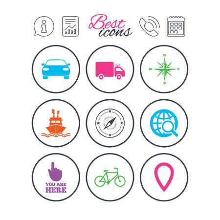 Information, report and calendar signs. Navigation, gps icons. Windrose, compass and map pointer signs. Bicycle, ship and car symbols. Phone call symbol. Classic simple flat web icons. Vector