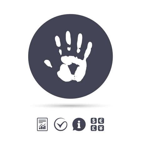 Hand afdruktekenpictogram. Stop symbool. Rapporteer document, informatie en vink pictogrammen aan. Wisselkantoor. Vector