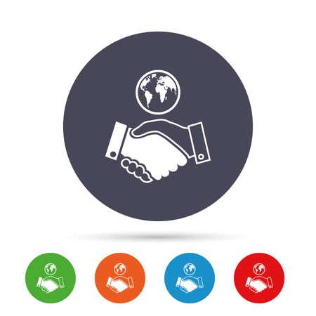 世界握手サイン アイコン。友好的な合意。世界シンボルとビジネスの成功。フラット アイコンと丸いカラフルなボタン。ベクトル  イラスト・ベクター素材
