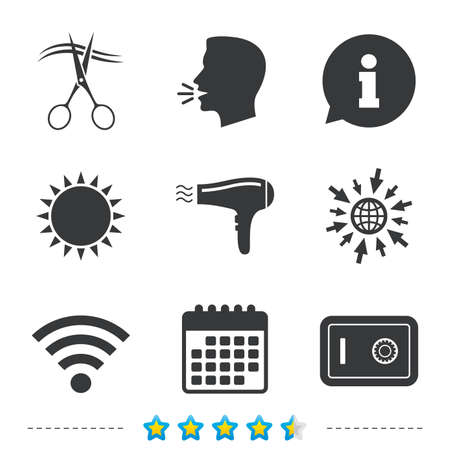 grooming: Hotel services icons. Wi-fi, Hairdryer and deposit lock in room signs. Wireless Network. Hairdresser or barbershop symbol. Information, go to web and calendar icons. Sun and loud speak symbol. Vector Illustration