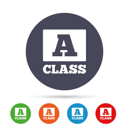 A-class icon. Premium level symbol. Energy efficiency sign. Round colourful buttons with flat icons. Vector Illustration