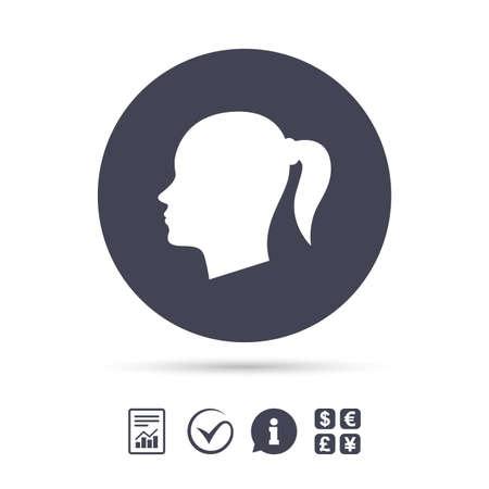 頭は記号アイコンです。女性頭部ピグテールのシンボル。ドキュメント、情報をレポートし、目盛りのアイコンをチェックします。外貨両替。ベク  イラスト・ベクター素材